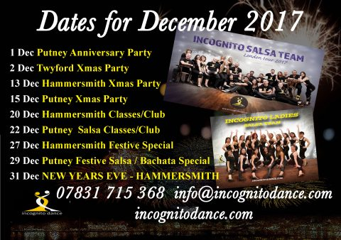 Salsa and Latin courses, classes, dance workshops, performance courses, Dance Teacher Training in Hammersmith Salsa Club and Putney Salsa Club. Also Bachata classes, all over London, beginners, Improvers, up to advanced. www.incognitodance.com